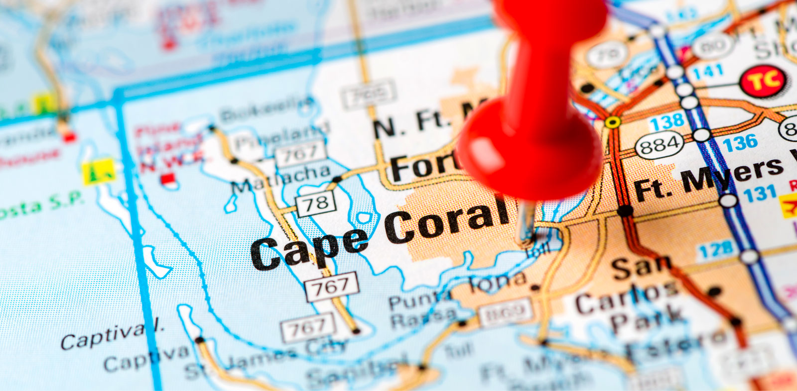 Map view of Cape Coral with Pin